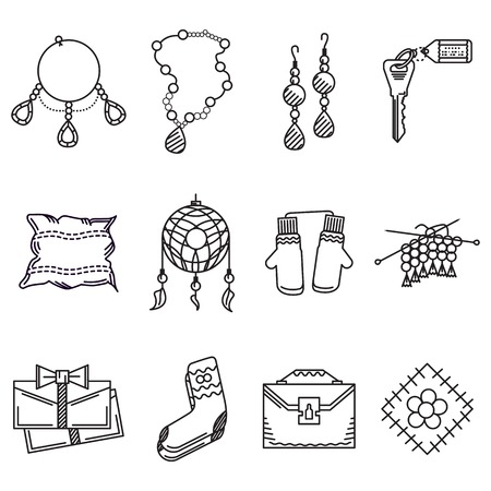souvenirs: Set of black flat line vector icons for handmade gifts or souvenirs on white background