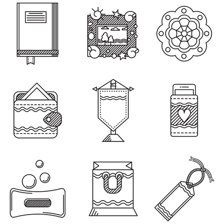 Set of black flat line vector icons for handmade gifts or souvenirs on white background Vector