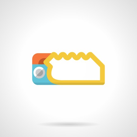 descender: Flat vector icon for yellow descender device foe climbing on white background.