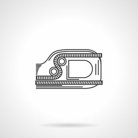 descender: Flat black line vector icon for climbing ascender device or jumar on white background. Illustration