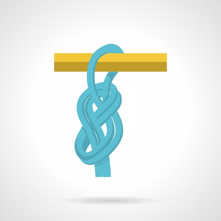 extreme close up: Flat color vector icon for blue rope knot on yellow bar on white background. Illustration