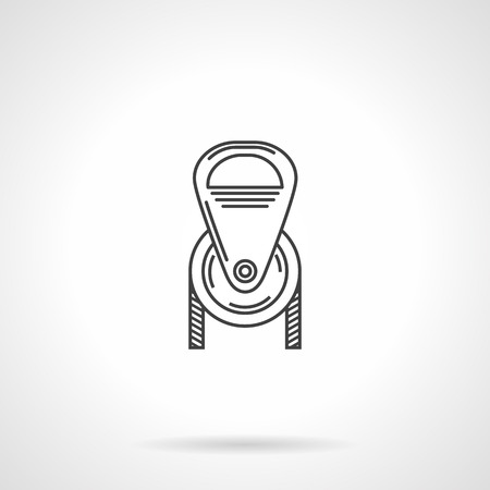 pulley: Black flat line vector icon for sports or industry pulley on white background.