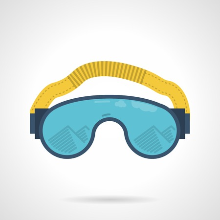 piste: Flat color icon for blue climbing or ski glasses or goggles with yellow strap and reflection of mountain on white background.