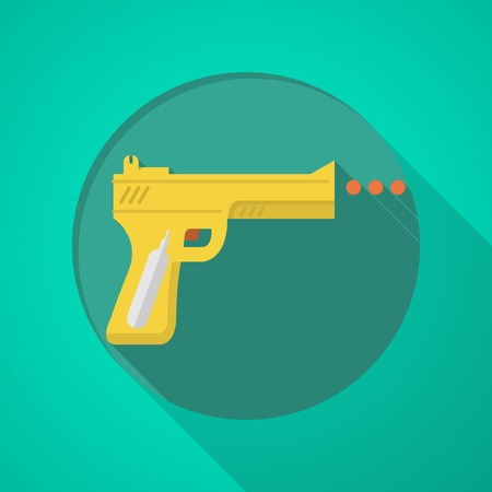 airgun: Yellow airgun with orange element flat icon for sport or self-defense on green background with long shadow design.