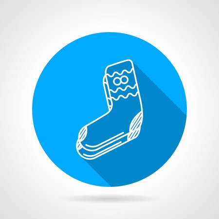 long socks: Round blue flat vector icon with white line knitted socks on gray background. Long shadow design.