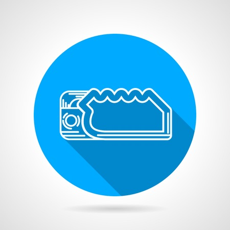descender: Round blue flat vector icon with white line climbing descender on gray background. Long shadow design. Illustration