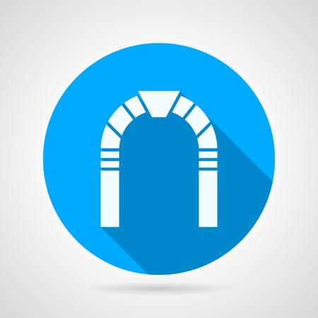 stone arch: Round blue flat vector icon with white silhouette stone arch on gray background. Long shadow design.