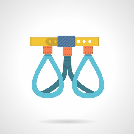 belay: Climbing belay harness flat color icon on white background. Illustration