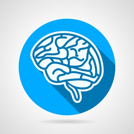Single conceptual blue circle vector icon with white contour human brain a side view for biology or medicine on gray background with long shadow.