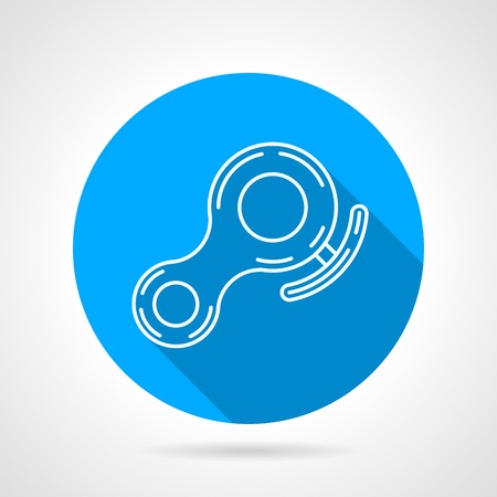 descender: Round blue flat vector icon with white line rappelling belay on gray background. Long shadow design.