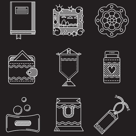 handmade soap: Set of white flat line contour vector icons for handmade items and gifts on black background.