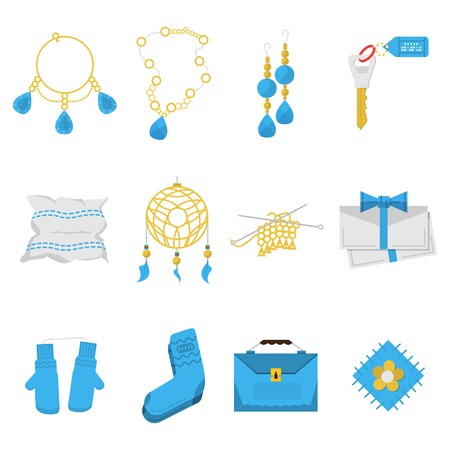 Set of blue and yellow color flat vector icons for handmade items and gifts on white  background. Vector