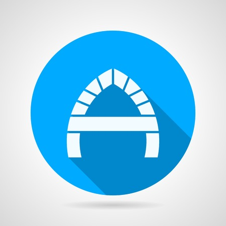 archway: Blue circle flat vector icon with white silhouette A-shape arch on gray background with long shadow.