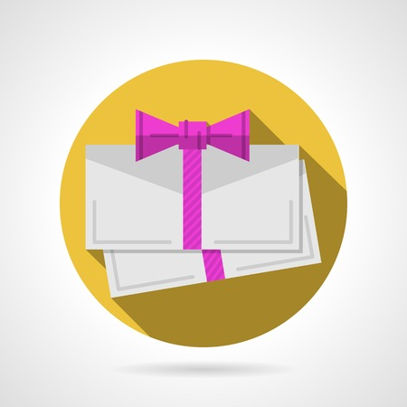 felicitation: Yellow circle flat vector icon for blank envelope for gift card with pink ribbon bow on gray background with long shadow. Illustration