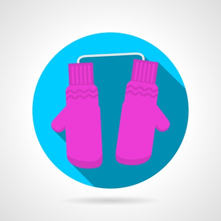 mittens: Blue circle flat vector icon for pink mittens pair on gray background with long shadow.