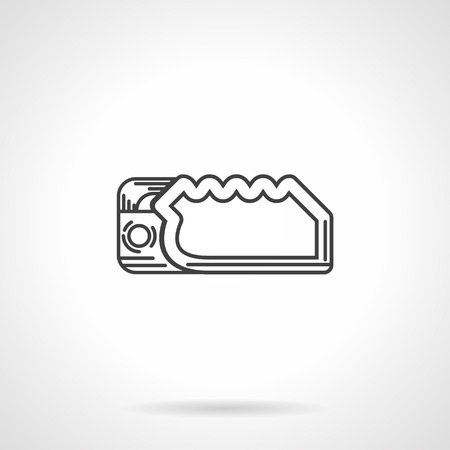 Black flat line vector icon for rappelling tool or descender on white background.