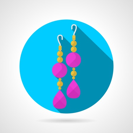 earrings: Blue circle flat vector icon for yellow chain earrings pair with pink stones on gray background with long shadow.