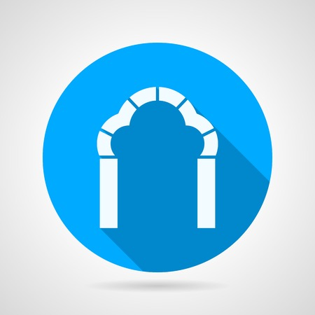 archway: Blue circle flat vector icon with white silhouette brick trefoil arch on gray background with long shadow. Illustration