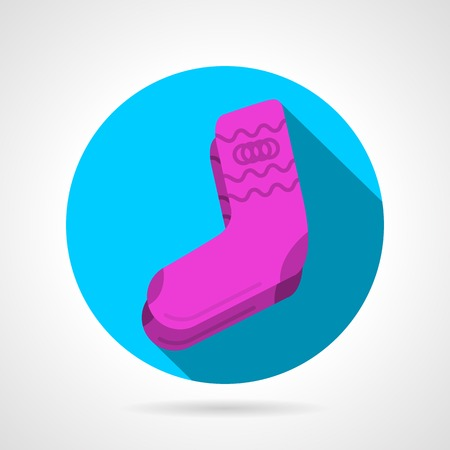 long socks: Single blue round flat vector icon for pink socks pair on gray background with long shadow.