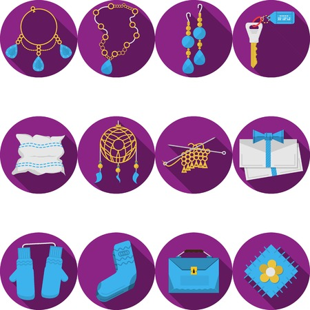 handiwork: Round purple flat icons vector collection of colored handmade or handiwork items and gifts on white background. Long shadow design.