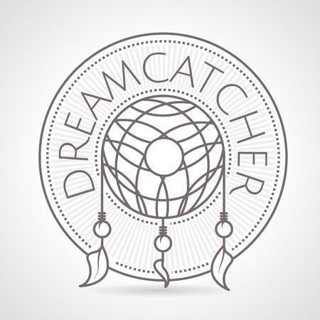 atrapasue�os: L�nea de estilo de ilustraci�n vectorial de la vendimia gris del colector ideal insignia redonda con la palabra Dreamcatcher sobre fondo gris.