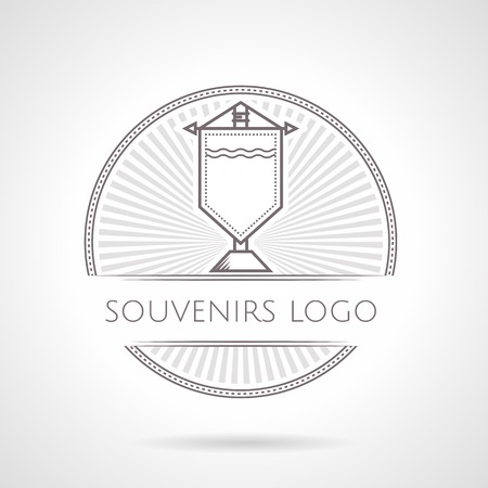 pennon: Gray vintage style line vector illustration of souvenir pennon round badge with text on gray background. Illustration