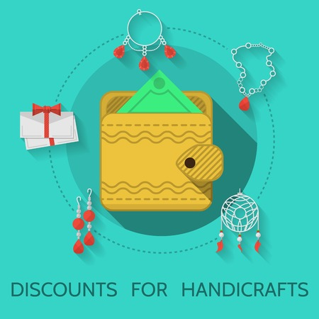 handicrafts: Handmade yellow wallet on blue icon with gray contour handmade items around. Flat color vector illustration with words Discounts For Handicrafts on blue background for your business or site. Long shadow design Illustration