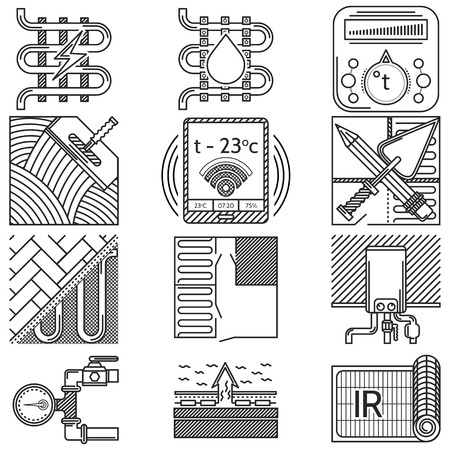 Black flat line icons vector collection of elements and symbols for heated floor service or business on white background. Vector