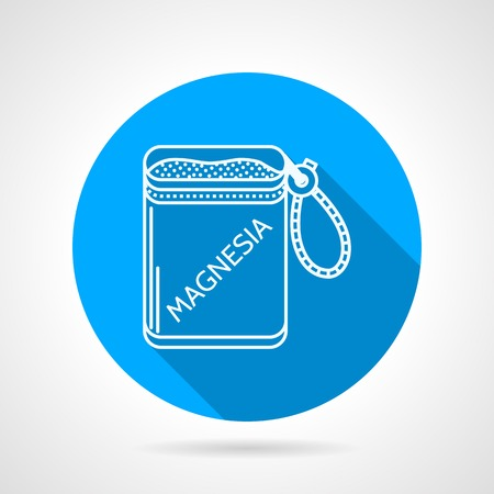 magnesia: Single blue flat vector icon with white contour bag of magnesium for sport or rock climbing on gray background with long shadow.