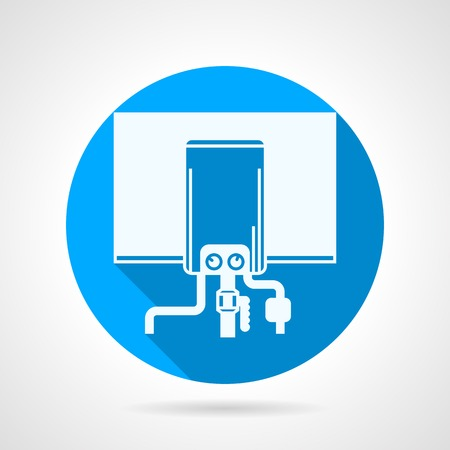 Single blue flat icon with white silhouette boiler for water underfloor heating on gray background with long shadow. Vector