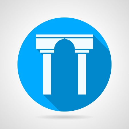 stoned: Circle blue flat icon with white silhouette stoned arch with columns on gray background with long shadow.