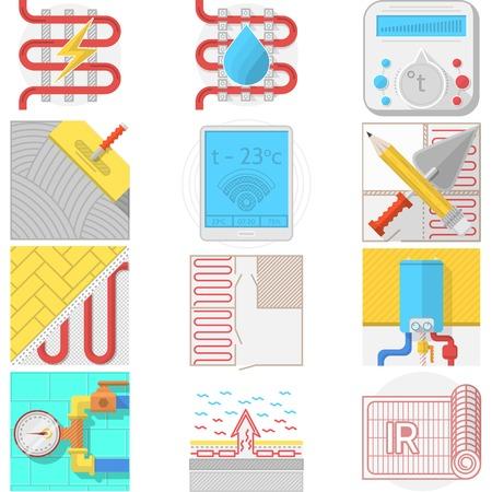 kunststoff rohr: Set flache Farbe Icons f�r Fu�bodenheizung Dienst oder Shop auf wei�em Hintergrund. Illustration