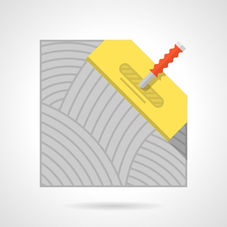 flooring: Flat color icon for flooring or underfloor heating installation with yellow spatula on white background Illustration