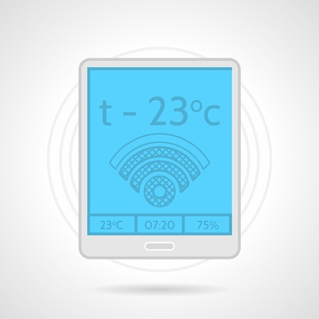 floor heating: Flat color icon for gray floor heating remote controller with blue display, wifi and temperature signs on white background Illustration