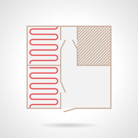 conduction: Flat color icon for project for heated floor installation on gray  Illustration
