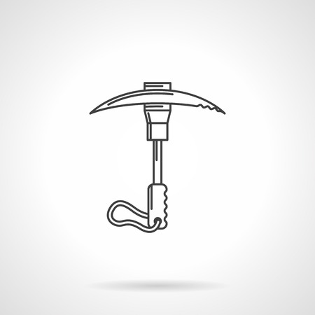 ice axe: Black flat line icon for climbing ice axe on white . Illustration