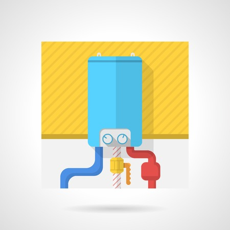 boiler: Flat color icon for blue water boiler on yellow wall for heated floor with red and blue pipes on white