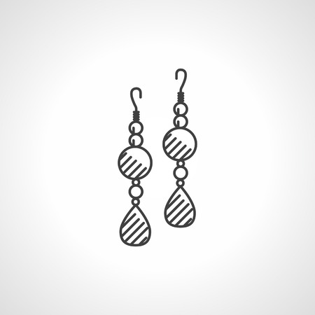 earrings: Black flat line icon for earrings pair with beads and drop-shape stone on white . Illustration