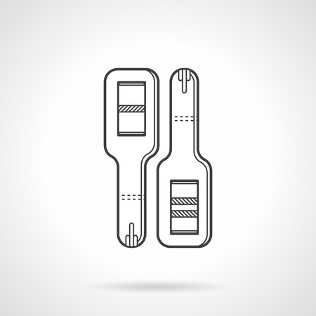 mothering: Black flat line icon for positive and negative pregnancy tests for obstetrics and gynecology on white . Illustration