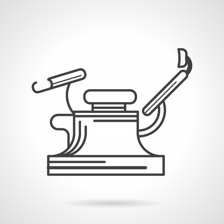 Black flat line icon for gynecology chair a side view on white .