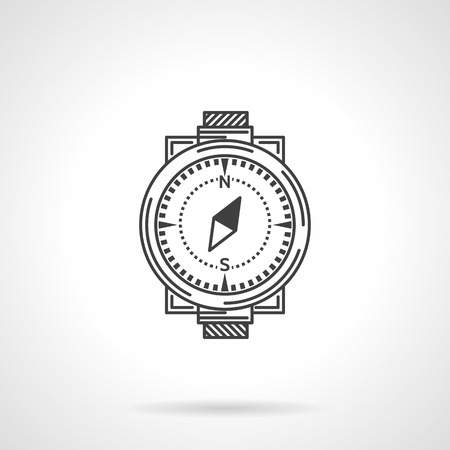 wristband: Black flat line icon for classic compass with wristband on white .