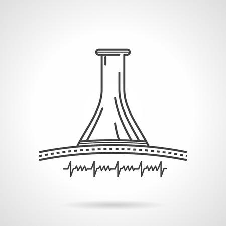 fetal: Concettuale nero icona linea piatta per stetoscopio ostetrico ascolto del battito cardiaco fetale su bianco.