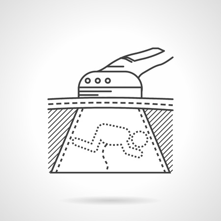 birth prevention: Abstract black flat line vector icon for fetus ultrasound scan on gray background.