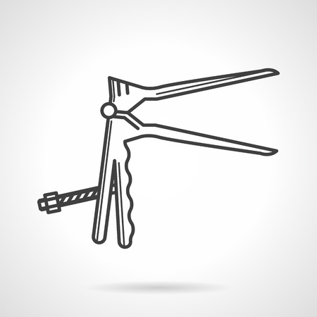 undesirable: Black flat line vector icon for gynecologic speculum on gray background.
