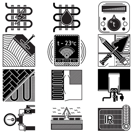 exchanger: Set of black silhouette vector icons for heated floor on white background.