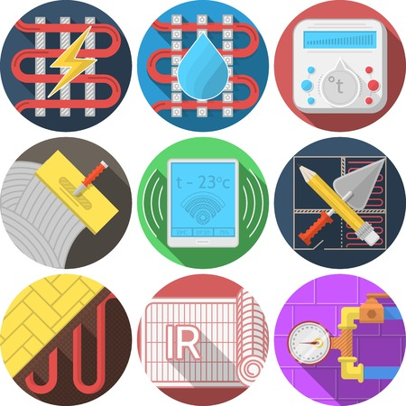conduit: Set of round flat colorful vector icons for heated floor on white background.