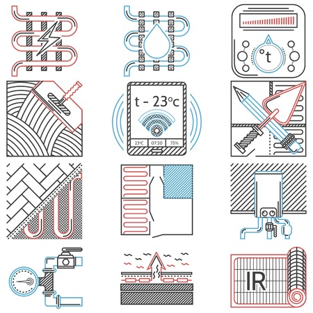 Set of flat line red, black and blue color vector icons for underfloor heating service on white background. Vector