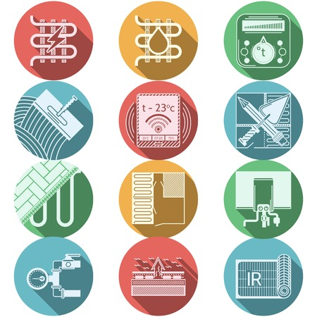 Set of flat circle colored vector icons with white silhouette elements for underfloor heating service on white background with long shadow. Çizim