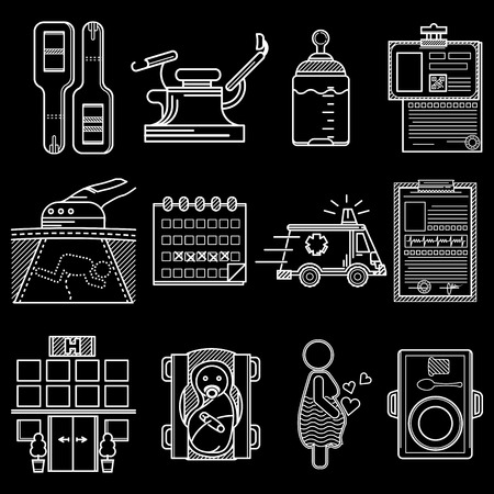 obstetrics: Set of flat white line vector icons for gynecology and obstetrics on black background.