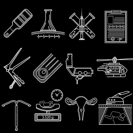 Set of flat white line vector icons for gynecology and obstetrics on black background.